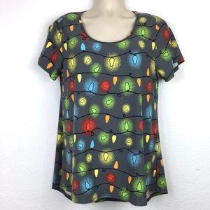 LuLaRoe Christmas Lights Classic T-Shirt Size L